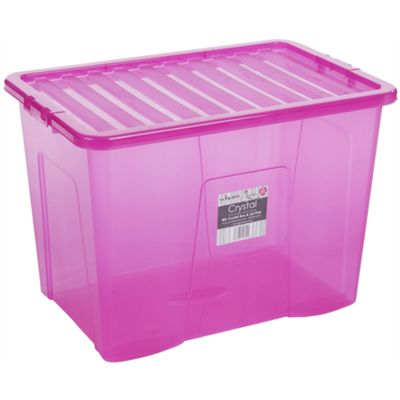 Wham 80L Crystal Box & Lid Tint Pink - Pack of 3