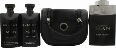 Bvlgari Man Black Cologne Gift Set 100ml EDT + 75ml Aftershave Balm + 75ml Shower Gel + Pouch For Men
