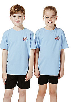 Unisex Embroidered School T-Shirt - Sky blue