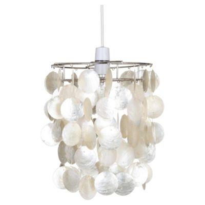 Tesco Lighting Capiz Tier Pendant, Cream