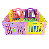 MCC Pink Plastic Baby Playpen with Activity panel & Floor Mats 8 Sides (Pink)