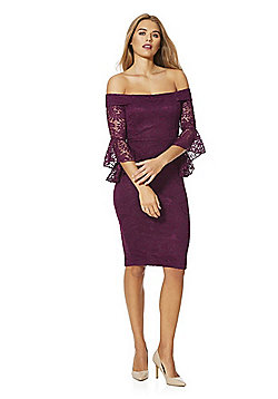 AX Paris Bell Sleeve Lace Bardot Dress - Purple