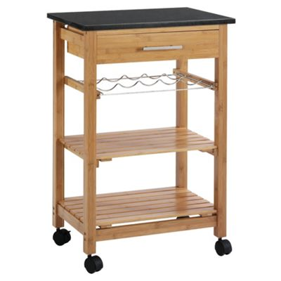 Bamboo Kitchen Trolley With Granite Top