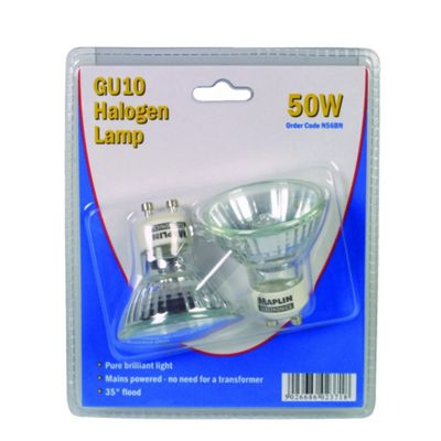 Mains Voltage GU10 50W Halogen Lamp Bulb Dual Pack