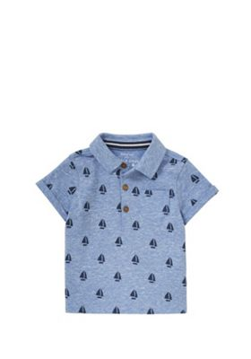 F&F Sailboat Polo Shirt Blue 0-3 months