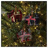 Tartan Scottie Dog Christmas Tree Decorations, 6 pack