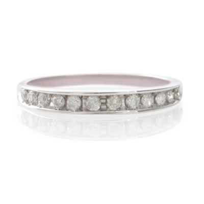 9ct White Gold 25Pt Diamond Eternity Ring, L