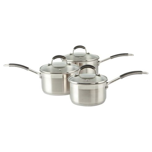 Go Cook 3 Piece Saucepan Set with Glass Lids, Stainless Steel
