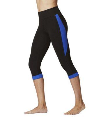 Ladies Sports Running Capri Black-Blue-XS