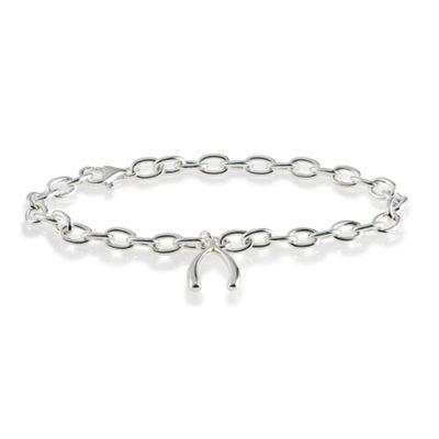Sterling Silver Wishbone Charm Bracelet