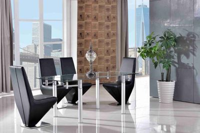 Verona Glass 120 - 180 cm Dining Table with 4 Black Rita Chairs