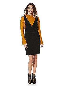 Vero Moda Plunge V-Neck Pinafore Dress - Black
