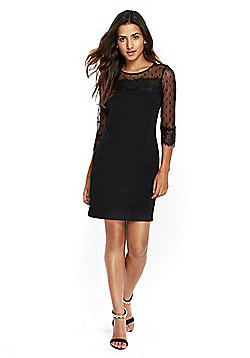 Wallis Dobby Lace Shift Dress - Black