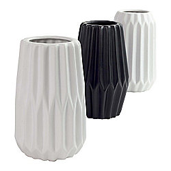 Dogan Set of 3 Black & White Ceramic 15cm Contemporary Vases