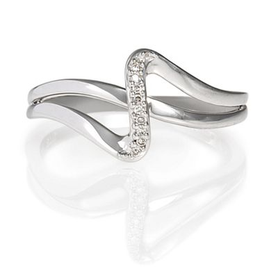 9ct White Gold Diamond Crossover Ring, L