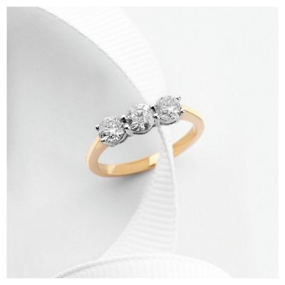 9ct Gold 1ct 3 Stone Diamond Ring, J