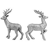 Set of 2 14cm Silver Polyresin Stag Christmas Ornaments