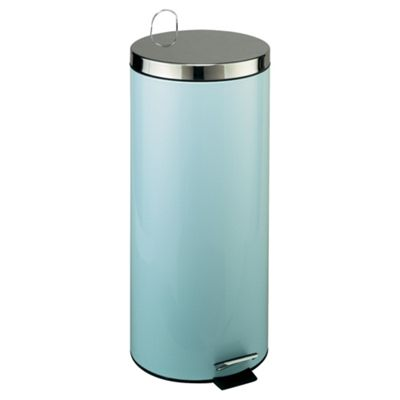 30L Touch Top Stainless Steel Kitchen Bin, Pale Blue
