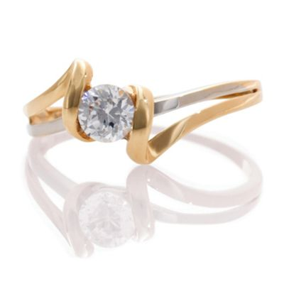 9ct Two Tone Gold Cubic Zirconia Ring, J