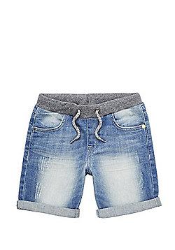 F&F Distressed Rib Waist Denim Shorts - Blue