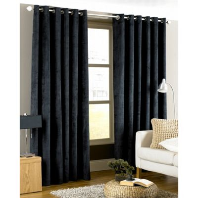 Riva Home Imperial Velvet Woven Lined Eyelet Curtains, Black, 66 x 72 Inch