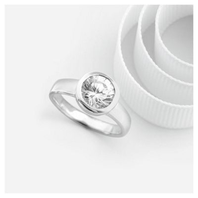 Sterling Silver Cubic Zirconia Ring, Large