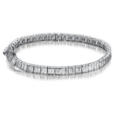Sterling Silver Cubic Zirconia Baguette Bracelet