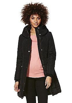 F&F Faux Fur Trim Shower Resistant Puffer Coat - Black