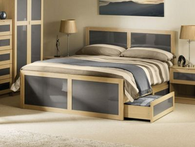 Happy Beds Strada Oak and Grey Gloss Wooden 2 Drawer Storage Bed Spring Mattress 3ft Single