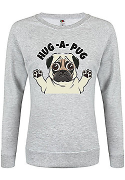Hug A Pug Women's Sweater, Grey - Grey