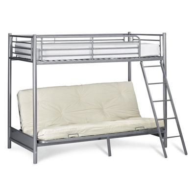 mika metal bunk bed with futon frame only silver metal