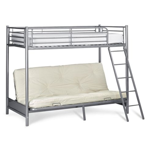 Mika Metal Bunk Bed with Futon (Frame Only), Silver Metal