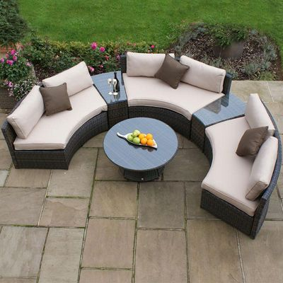 Maze Rattan - Half Moon Rattan Corner Sofa Set - Brown