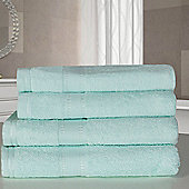 Dreamscene 100% Egyptian Cotton 4 Piece Hand Bath Towel Set - Aqua