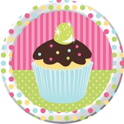 Cupcake Party Paper Plates 23cm