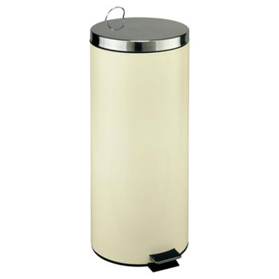 30L Touch Top Stainless Steel Kitchen Bin, Cream