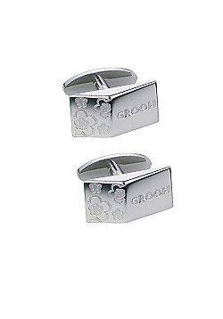 Steel Blossom Groom Wedding Cufflinks