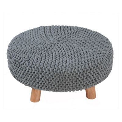 Homescapes Sea Grey Knitted Flat Footstool with Wooden Legs Large 62 x 62 x 30 cm