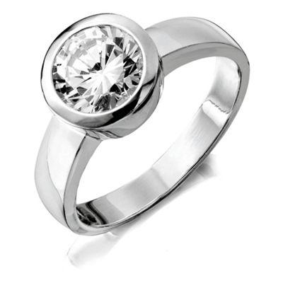 Sterling Silver Cubic Zirconia Rubover Ring, Medium