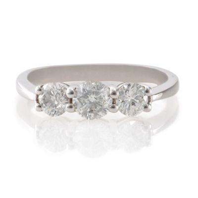 9ct White Gold 1ct Diamond 3 Stone Ring, N