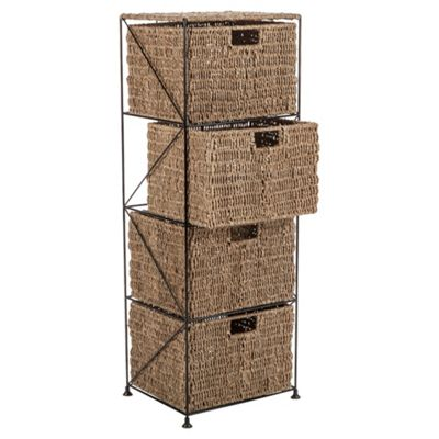 Tesco Seagrass Large 4 Drawer Storage Tower