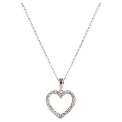9ct White Gold Diamond Open Heart Pendant