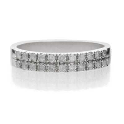9ct White Gold 25Pt Diamond Double Row Ring, L