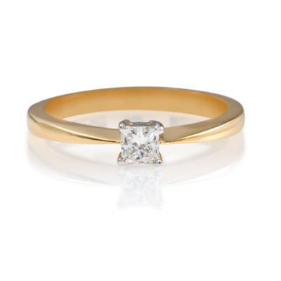 18ct Gold 1/4ct Diamond Princess Cut Ring, N