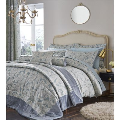 Catherine Lansfield Opulent Jacquard Duck Egg Duvet Cover Set - Single