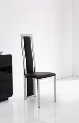 x6 Elsa Steel & Black Faux Leather Dining Chairs