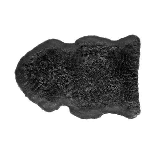 Tesco 100% Wool Sheepskin Rug, Black