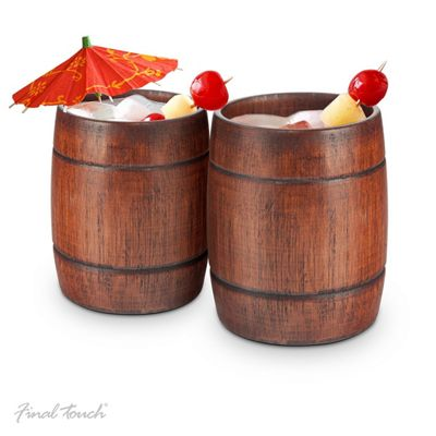 Buy Final Touch Wood Barrel Tumblers Wooden Cocktail Glasses Ideal