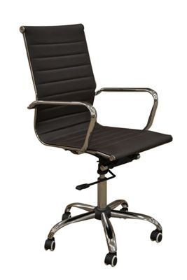 Eames Style High Back Ribbed Brown Faux Leather Office Chair