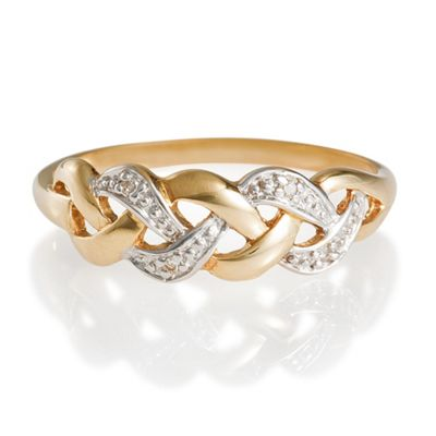 9ct Gold Diamond Link Ring, R